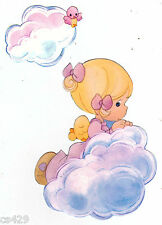 "4.5"" Precious moments girl cloud nursery peel & stick wall border cut out"