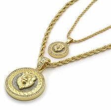 "Men's 14k Gold Plated Hip Hop Round Lion Cz Pendant 2mm 24"" & 5mm 30"" Rope Chain"