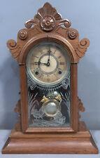 New ListingAntique Edwardian Era Kitchen Style Wood Faux Etched Wild Birds Mantel Old Clock