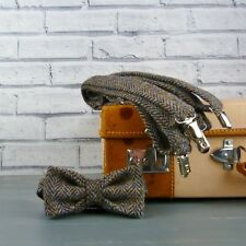 Handmade Harris Tweed Bow Tie and Braces - multi autumnal colour herringbone