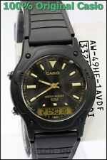 AW-49HE-1A Black Casio Resin Watches Dual Time Stopwatch New Analog Digital