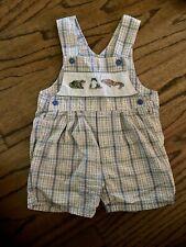 Vintage Carter Romper 2T Blue Plaid Frog Boy Overall