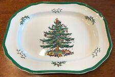 Spode Christmas Tree Platter 14 Inches Green Trim S3324 England Modern Backstamp