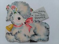 1940-50s Fuzzy LAMB Little DAUGHTER Hall Brothers Vtg BIRTHDAY GREETING CARD