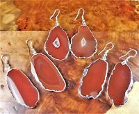 Red Agate Slice Earrings Silver Y4 Healing Crystals And Stones