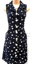 SIZE 10 VINTAGE STYLE WW2 LANDGIRL TEA SHIRT DRESS NAVY STAR PRINT # US 6 EU 36