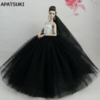 White Black Doll Dresses Evening Gown Clothes Wedding Dress For Barbie Doll 1/6