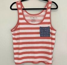 New listing Fifth Sun Tank Flag Usa Red White And Blue Stripped Tank Top Size Xl