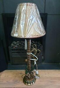 Tall table lamp three wise Monkeys,see ,speak ,hear no evil & shade new 28 inch