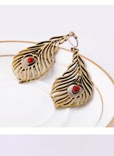 Heart Peacock Feather Drop Earring Red Center Gold Toned