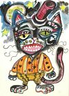 Halloween Black Cat Gothic Fun ACEO ATC original miniature collectible Painting
