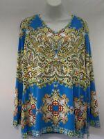 Susan Graver Women's  Blue Multi Boho Long Sleeves Knit Top Size Large J13