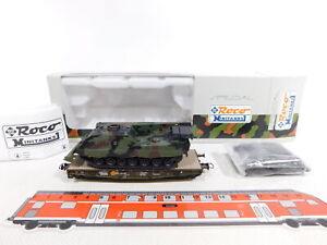 CS345-0,5# Roco Minitanks H0/DC 889 Flachwagen DB + Bergepanzer Büffel, NEUW+OVP