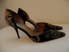 Black Embroidered Aldo Stiletto Pointed Toe Court Shoes Size 38/5