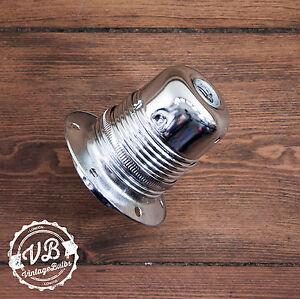 Vintage metal pendant lamp holder Chrome style retro antique style light E27