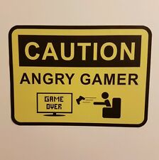 CAUTION ANGRY GAMER removable reusable sign door wall decal