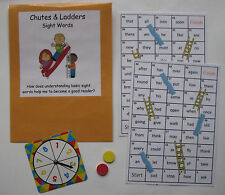 Teacher Made Literacy Center Learning Resource Game Sight Word Chutes & Ladders
