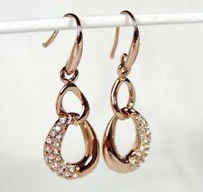 Rose Gold 21 Crystals Double Hoop Drop Dangle Earrings W/Hook Fastener 18kgp