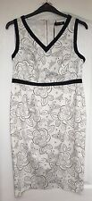 "NEW ""Gok for TU"" Women's Dress, Size 16S, White/Black butterfly design, Stretch"