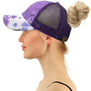 C.C Ponytail Criss Cross Messy Bun Baseball Cap Trucker Hat Tie Dye Purple