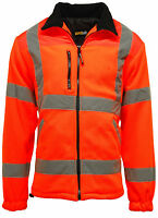 Mens Hi Vis Viz Visibility Premium Safety Work Lined Fleece Jacket Work Jackets