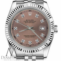 Ladies Rolex 26mm Datejust Salmon Brown Color Diamond Accent Dial SS Watch