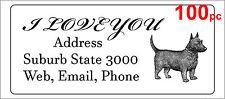 100 Personalised return address label custom mailing sticker 56x25mm dog puppy