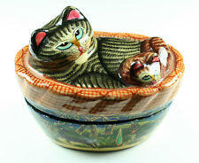 Vintage Cat Kitten In A Basket Jewelry Trinket Collectible Handpainted Lacquer