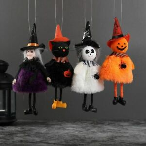 22cm Halloween Cloth Doll Cat Ghost Witch Pumpkin Party Supply Hanging Decor Hat