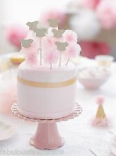 Girls Tutu and Pom Pom Picks and Cake Toppers for pink parties, baby showers