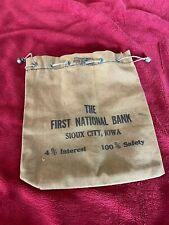 Vintage Canvas Bank Deposit Bag, First National Bank in Sioux City, IA.