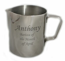 More details for  personalised 600ml steel coffee cappuccino latte milk flat white frothing jug
