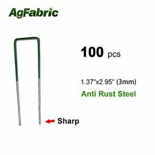 Agfabric 100-Pack Anti-Rust Galvanized Ground Staples Heavy-Duty Steel Sod Stake