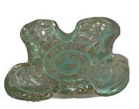MURANO Art Gold Dust Flecks Bullicante Green/Gold Ashtray/Bowl/Dish