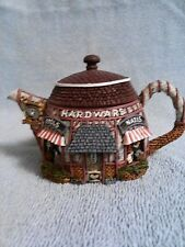Vintage Hand Painted Hometown Teapot-Hardware Store-Collectors House