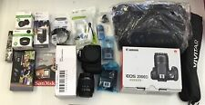 Canon EOS 2000D / Rebel T7 SLR Camera + 3 Lens Kit 18-55mm + 64gb+ Flash & More