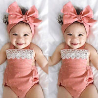Toddler Baby Girls Romper Jumpsuit Playsuit Infant Headband Clothes Outfits Set