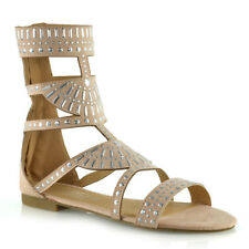 Womens Strappy Sandals Flat Ankle High Ladies Summer Holiday Shoes Size 3-8 UK 8 / EU 41 / US 10 Nude