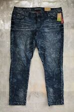Merona Floral Print Ankle Skinny Jeans Stretch Denim Women's Size 16 Fit 3