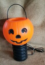 Vintage 1985 P.A.C Usa Halloween Plastic Blow Mold Pumpkin Post Topper Light