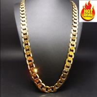 24 Inch 14K Gold Chain Cuban Necklace Men 9MM Link w/ Real Solid Clasp 24K Gift