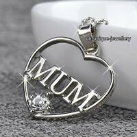 Love Silver Heart MUM Necklace Mother's Day Xmas Gift For Her Daughter Mom Women