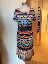fb39bb920f3d Riani Dress Size 16 Black Orange Lime Blue Tropical Print Now
