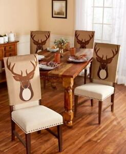 2-Pc Northwoods Woodland Deer Chair Back Covers Lodge Cabin Dinning Chair Covers