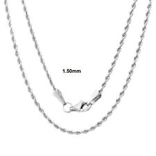 Solid Sterling Silver Diamond-Cut Rope Chain Solid 925 Made In Italy New
