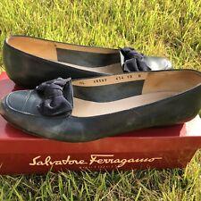 Vintage Salvatore Ferragamo Shoes Beatrice Pumps Heels Calf Skin File Bow Navy