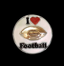 Noosa Ginger Style Snap Button Chunk Charms 'I LOVE FOOTBALL' 20mm