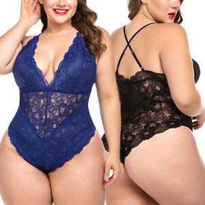 Sexy-Lingerie Plus Size Womens Lace Teddy Babydoll Bodysuit Nightwear Jumpsuit