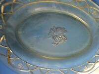Vintage Oval Platter: 8 x 12 Amber depression federal glass ROSEMARY pattern