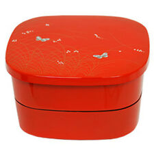 Japanese Jubako 2 Tier Box Red Butterfly and Rive Reed Design Lacquer Finish